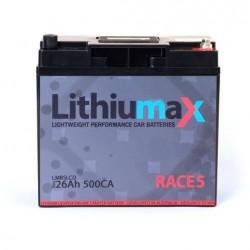 LITHIUMAX LITHIUM BATTERIES - RACE5 LCD 500CA ULTRA-LITE ENGINE STARTER BATTERY