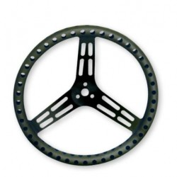 "LONGACRE LIGHTWEIGHT STEERING WHEEL - 14"" UNCOATED BLACK ALUMINIUM - DRILLED - DISHED"