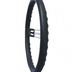 "LONGACRE 15"" ALUMINIUM STEERING WHEEL - BLACK WITH NATURAL SPOKES AND BUMP GRIP"