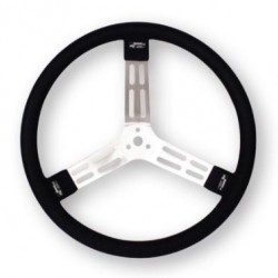 "LONGACRE 15"" ALUMINIUM STEERING WHEEL - BLACK WITH NATURAL SPOKES AND SMOOTH GRIP"