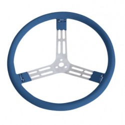 "LONGACRE 15"" ALUMINIUM STEERING WHEEL - BLUE WITH NATURAL SPOKES AND SMOOTH GRIP"