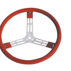"LONGACRE 15"" ALUMINIUM STEERING WHEEL - RED WITH NATURAL SPOKES AND SMOOTH GRIP"