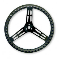 "LONGACRE LIGHTWEIGHT STEERING WHEEL - 15"" UNCOATED BLACK ALUMINIUM - DRILLED - DISHED"