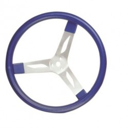"LONGACRE 17"" ALUMINIUM STEERING WHEEL - BLUE WITH NATURAL SPOKES AND SMOOTH GRIP"