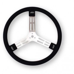 "LONGACRE 17"" ALUMINIUM STEERING WHEEL - BLACK WITH NATURAL SPOKES AND SMOOTH GRIP"