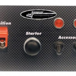LONGACRE CARBON FIBRE FLIP-UP START/IGNITION SWITCH PANEL WITH SWITCH PANEL W. 2 ACC AND PILOT LIGHTS